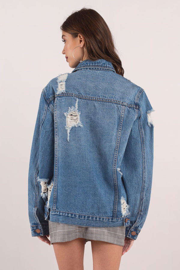 19daebd85e23 Blue Jacket - Boyfriend Denim Jacket - Blue Oversized Jacket -  98 ...
