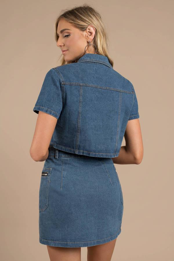1e1b409bbe8 Blue Rehab Clothing Crop Top - Denim Crop Top - Blue Collared Top ...