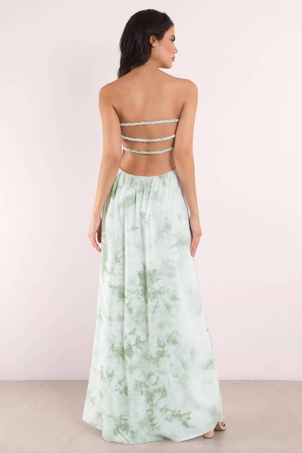 6bb5abd38a6 Cute Maxi Dress - Sleeveless Dress - Green Dress - Boho Tie Dye ...