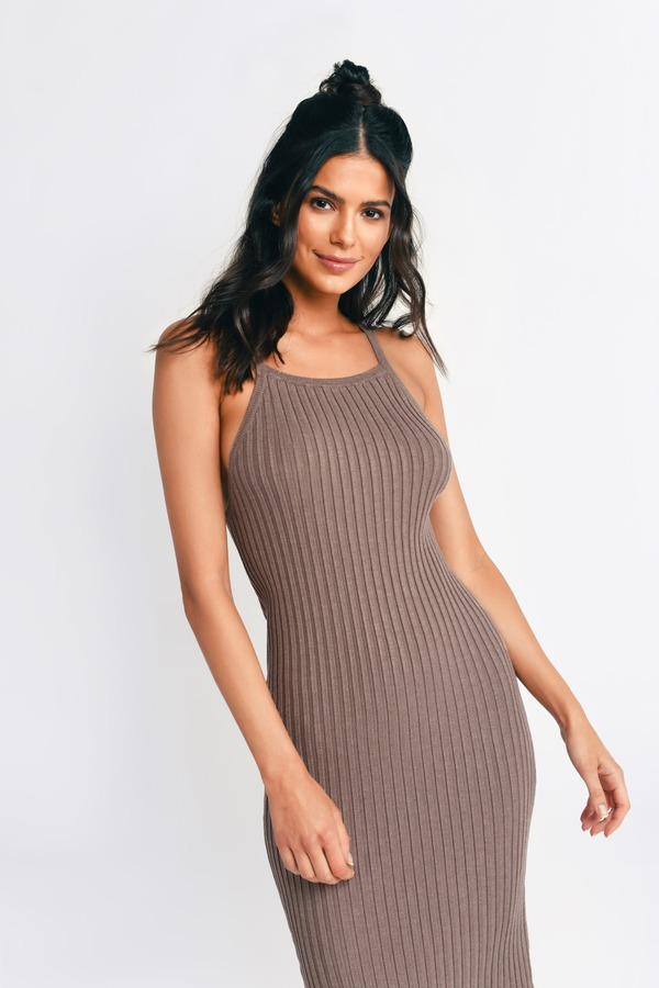 Mocha Bodycon Dress - Brown Dress - Ribbed Dress - Mocha Bodycon ... f13bb3622