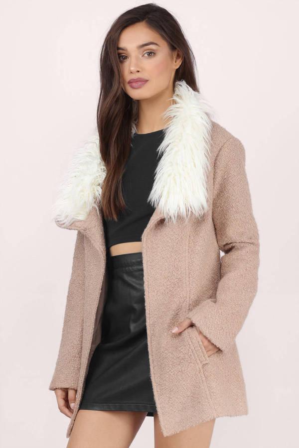 fe8180682169 Trendy Mocha Coat - Brown Coat - Faux Fur Coat - Mocha Coat -  32 ...