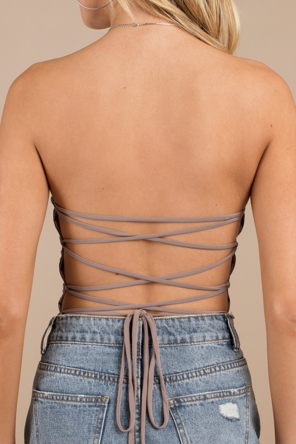 e708f7c1a5 Trendy Mocha Bodysuit - Back Tie Bodysuit - Strappy Bodysuit -  16 ...