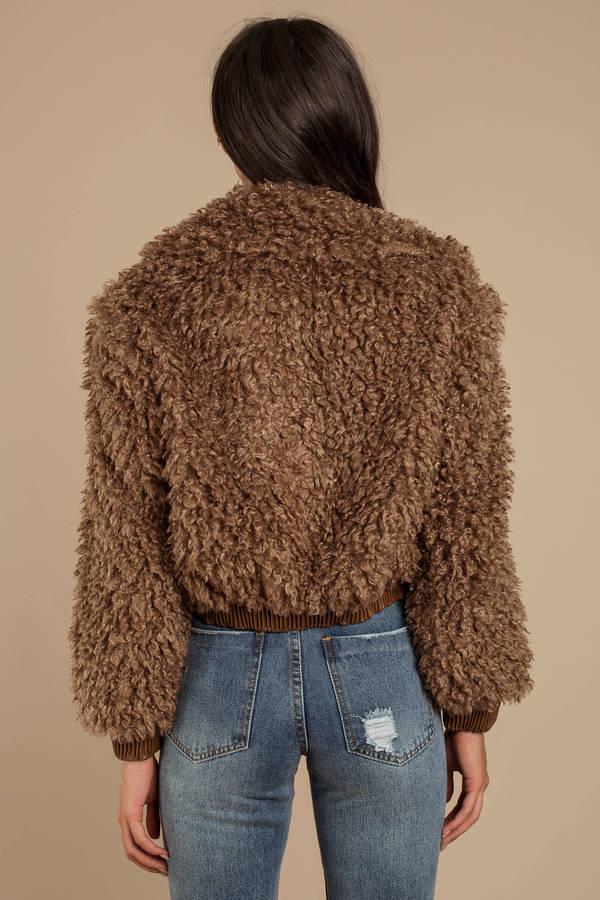 5811f1d0afe Brown Astr Jacket - Teddy Coat - Brown Shaggy Faux Fur Coat - C$ 231 ...