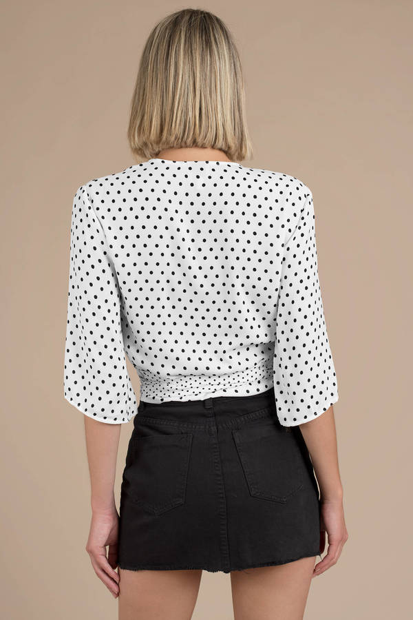 b6d3af4d2e598 White Minkpink Blouse - Wrap Top - White Polka Dot Blouse - £46 ...