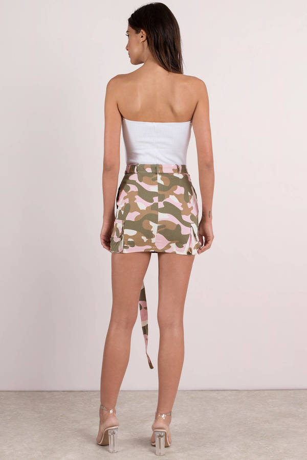543cca426582 Pink Skirt - Belted Mini Skirt - Pink Camo Mini Skirt - £18 | Tobi GB