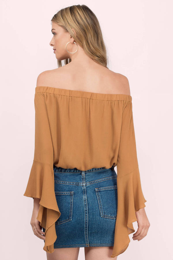 ad838d029cb81a Mustard Yellow Blouse - Bell Sleeve Blouse - Off The Shoulder Blouse ...