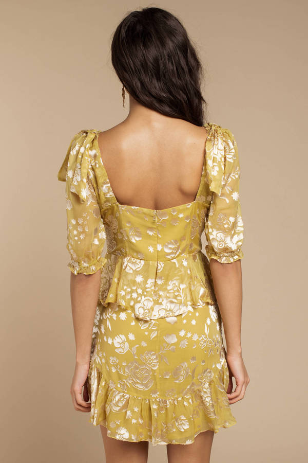 90303d500f3a ... For Love and Lemons For Love And Lemons Cosmo Mustard Mini Dress ...