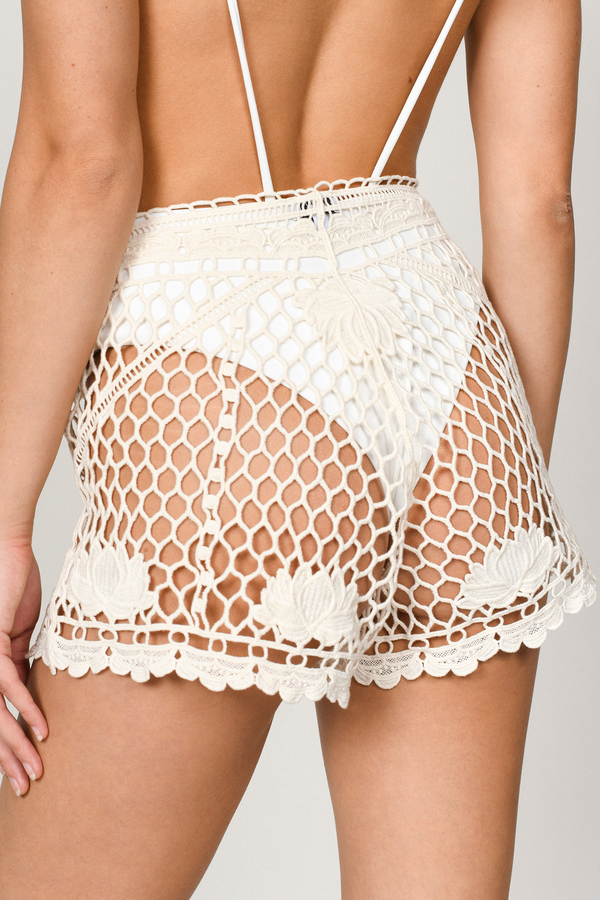 Beige Shorts Crochet Shorts Beige Mesh Shorts Beach Cover Up