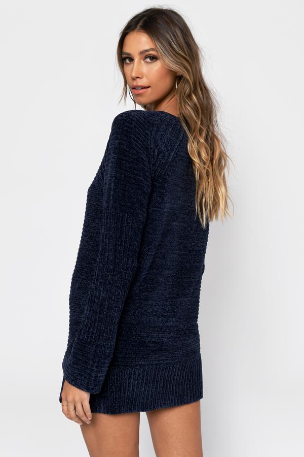 5e6a03ab6a1 Navy Blue Sweater Dress - Knit Dress - Navy Blue Chenille Dress ...