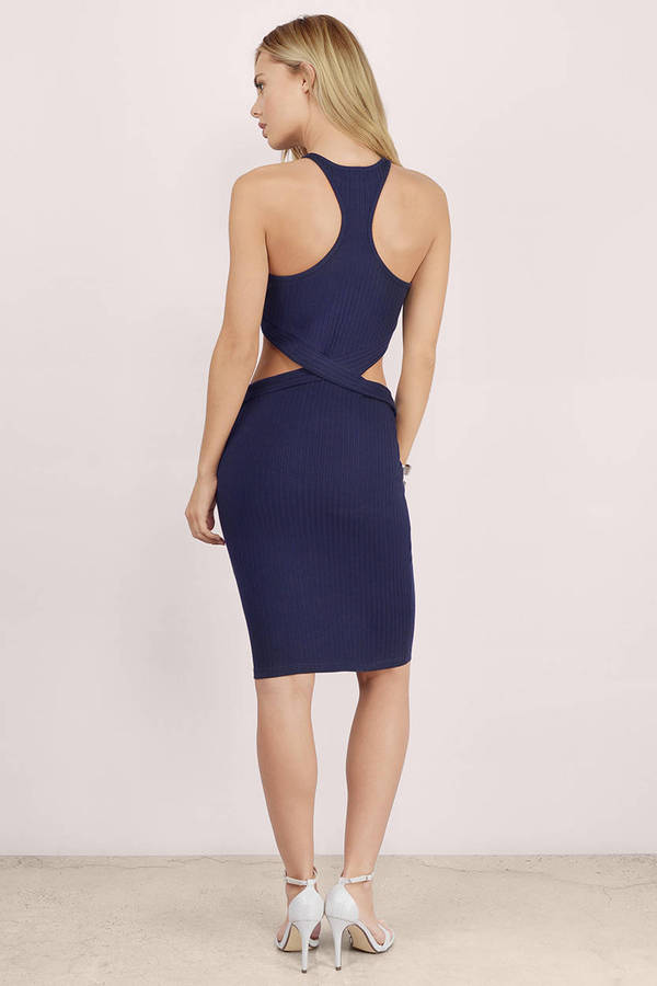 acbeb09870b2 Navy Midi Dress - Blue Dress - Cut Out Dress - Blue Midi Dress - £10 ...