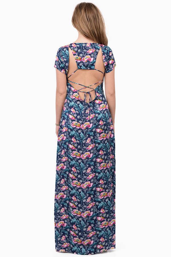 Teal floral maxi dress