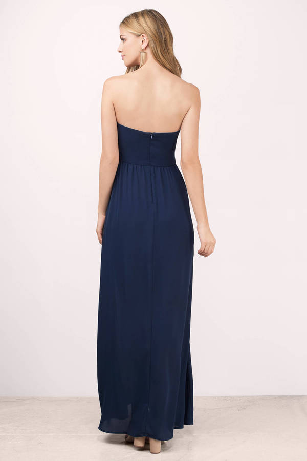 Navy and white strapless maxi dress