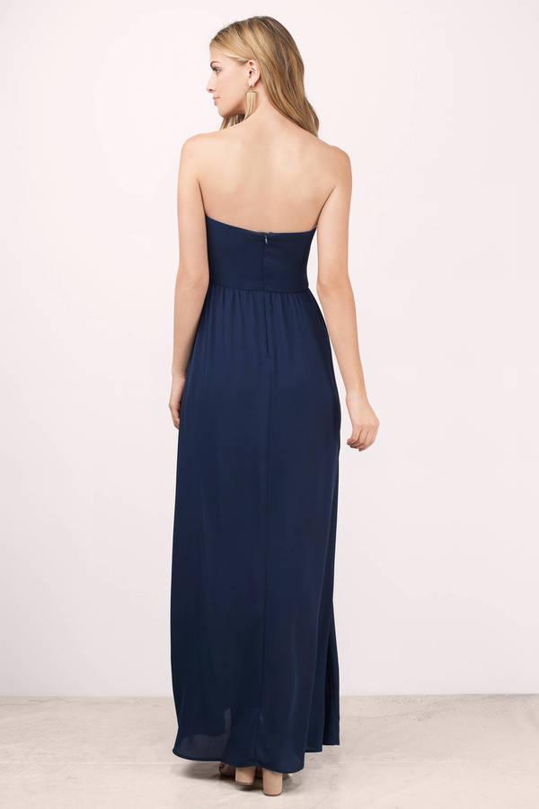 Lovely Navy Maxi Dress - Strapless Dress - $35.00