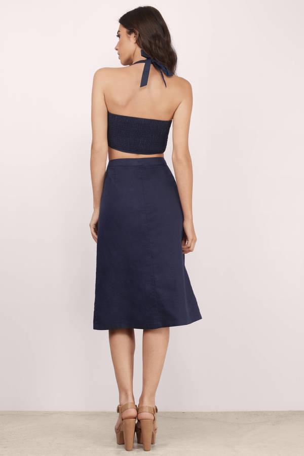 Trendy Navy Skirt - Blue Skirt - High Waisted Skirt - Navy Skirt ...
