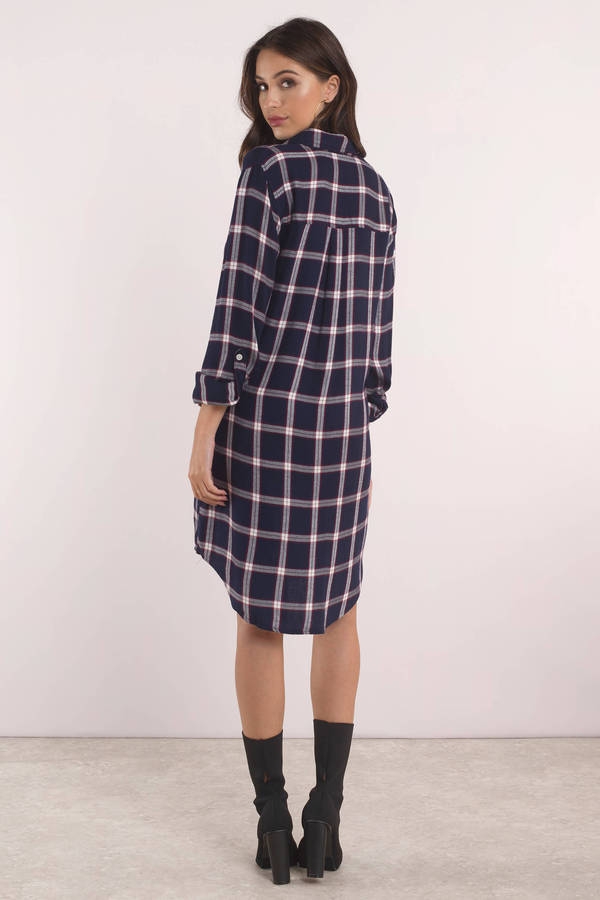 Blue Shift Dress Thread Amp Supply Long Sleeve Plaid Dress
