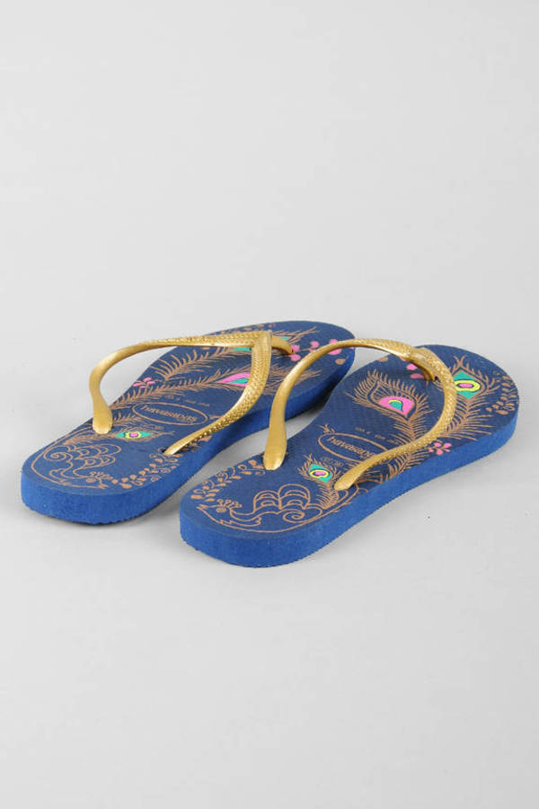 495f2a211d683 Blue Havaianas Sandals - Printed Sandals - Blue Boho Inspired Flip ...