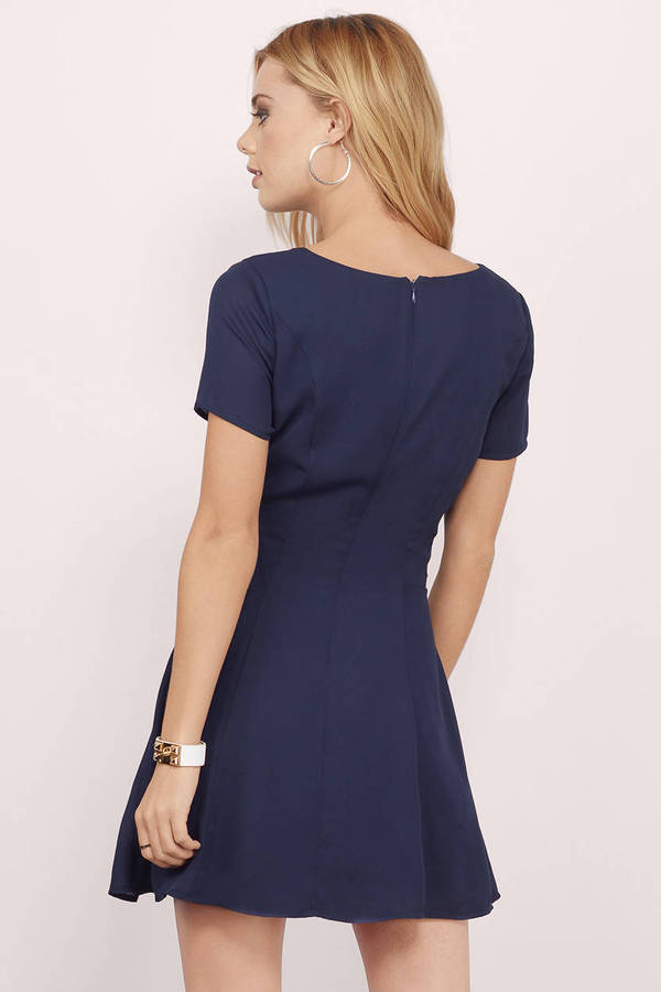 79d4667367 Navy Blue Skater Dress - V Neck Skater Dress - Navy Blue Elegant ...