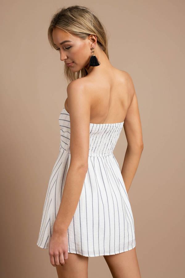 764adbf838fb White Skater Dress - Nautical Striped Dress - White Strapless Dress ...