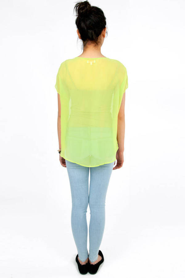 Re:Named Candy Button Chiffon Top