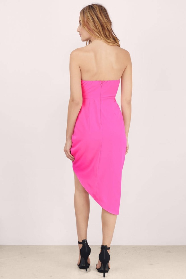 Neon Pink Bodycon Dress - Pink Dress - Strapless Dress - $19.00