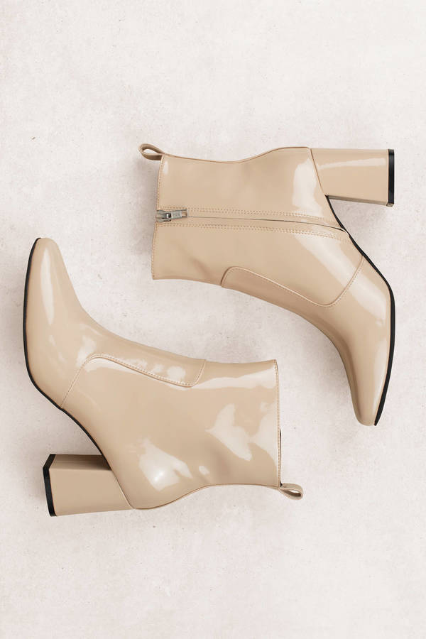 b8a1faf3357d8 Nude Sol Sana Boots - Patent Leather Boots - Nude Heeled Ankle ...