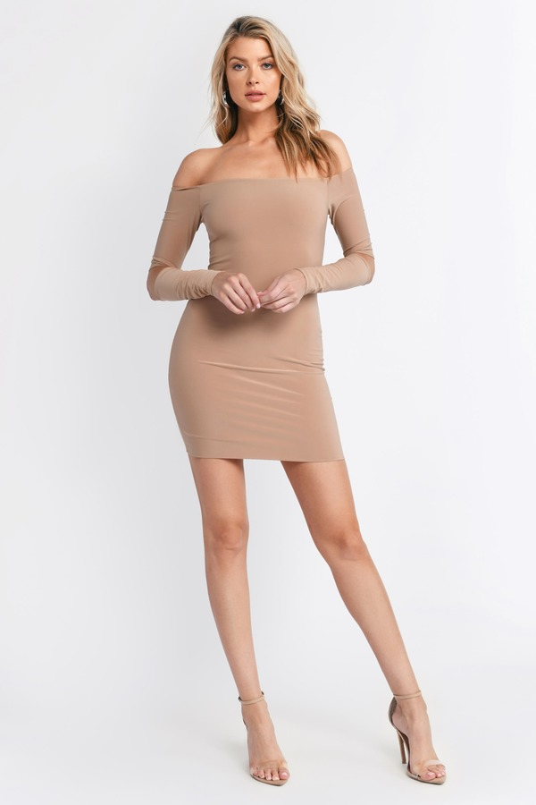 Sexy Nude Bodycon Dress - Off Shoulder Dress - Bodycon Dress -  15 ... 8330a1d50