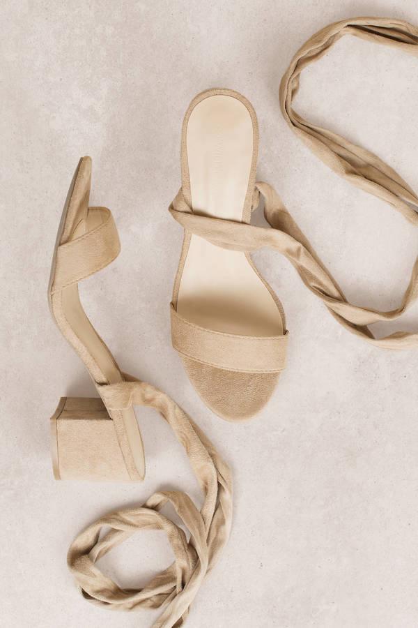 c00da3d868a7 Larina Black Faux Suede Ankle Wrap Heels. Double Tap To Zoom
