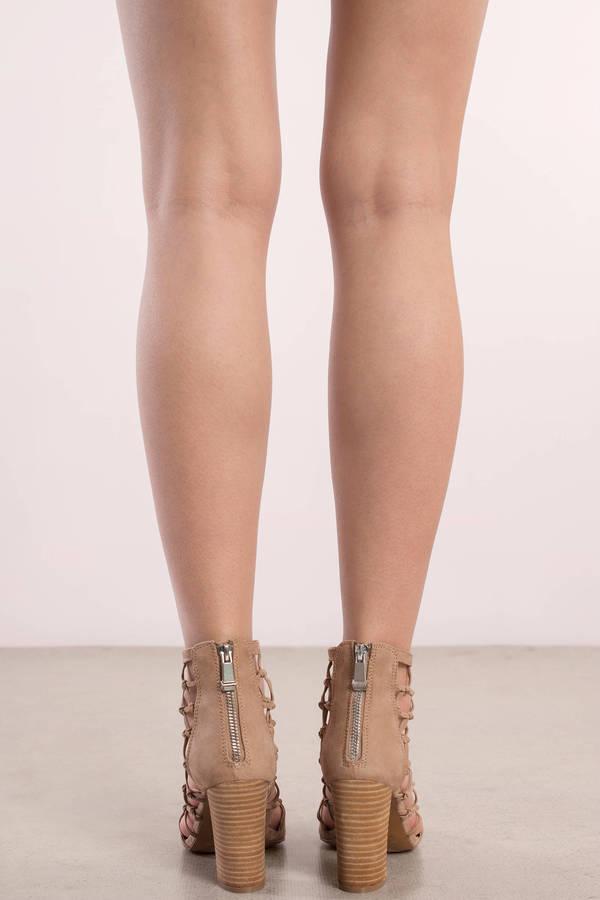 Nude Heels - Peep Toe Heels - Brown Sandals Heels - Lattice Heel ...
