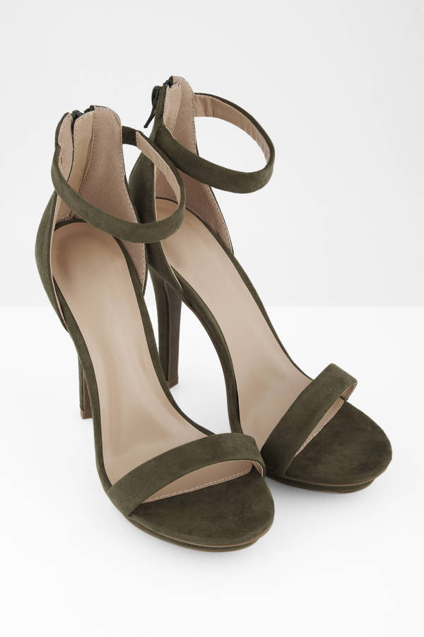 f2399c245ed Olive Heels - Green Heels - Open Toe Heels - Army Green Pumps -  35 ...