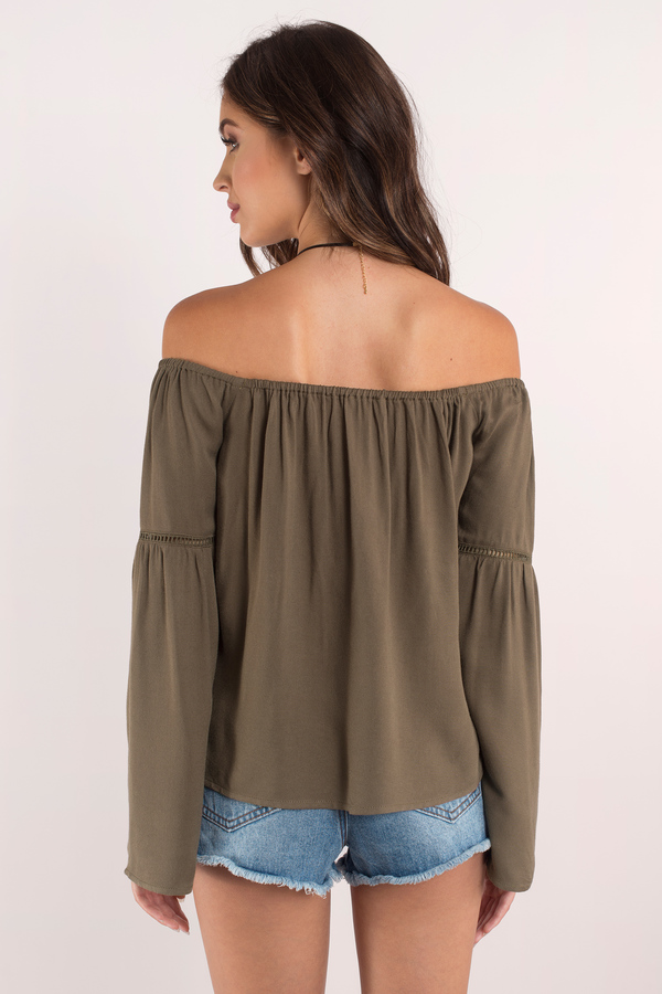 5d6de9733b0185 Cute Olive Shirt - Olive Shirt - Off Shoulder Shirt - Olive Top ...