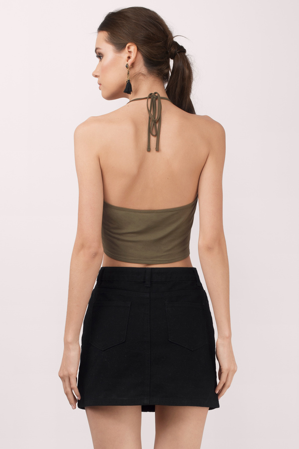 103b413a05e3b6 Cute Olive Crop Top - Front Tie Top - Olive Top - Olive Crop Top ...
