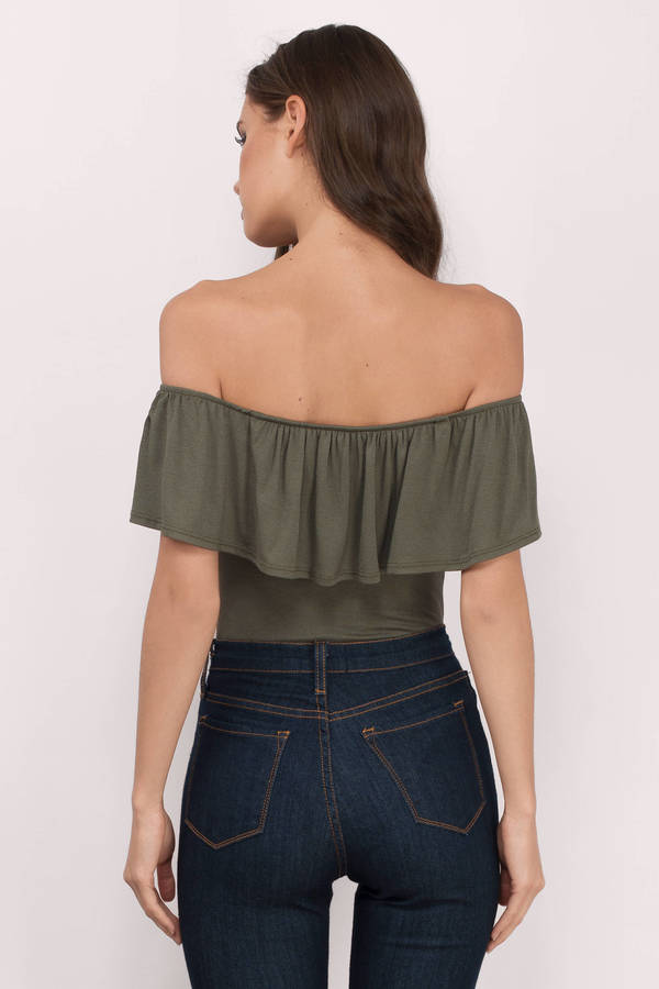 001eaa9a69 Home · Tops · Bodysuits · Elva Tiered Off Shoulder Bodysuit · Elva Olive  Bodysuit Elva Olive Bodysuit Elva Olive Bodysuit ...