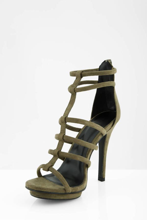 3fc50ce9b5b Olive Heels - Green Heels - Multi Strap Heels - Army Green Heels ...