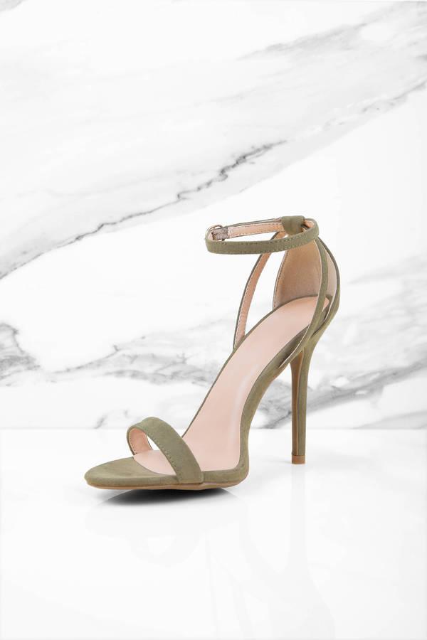 9346596cceb Olive Heels - Green Heels - Open Toe Heels - Forest Green Heels ...