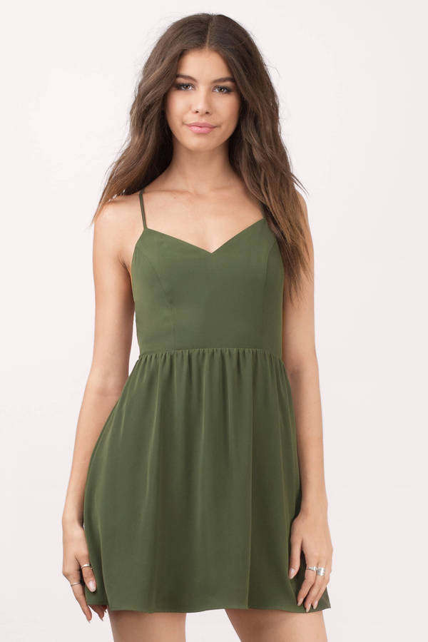8e6d5d42ab Olive Skater Dress - Open Back Dress - Green Dress - Green Flare ...