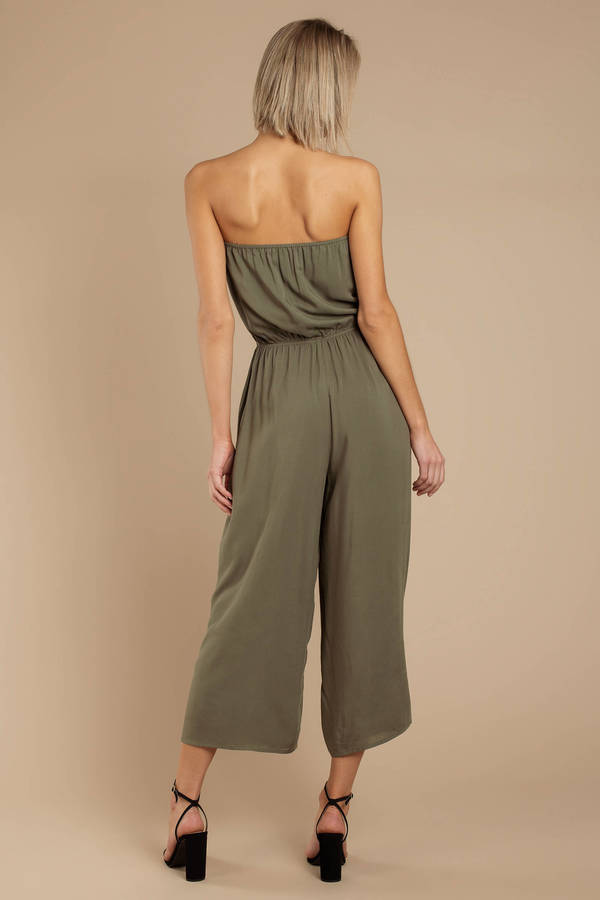 72253ce7d6f5 Olive Green Jumpsuit - Sleeveless Jumpsuit - Olive Green Culotte ...