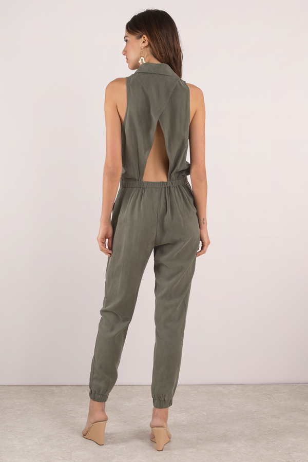 bb4e860cf45 Cute Black Jumpsuit - Button Up Jumpsuit - Green Jumpsuit - AU  162 ...