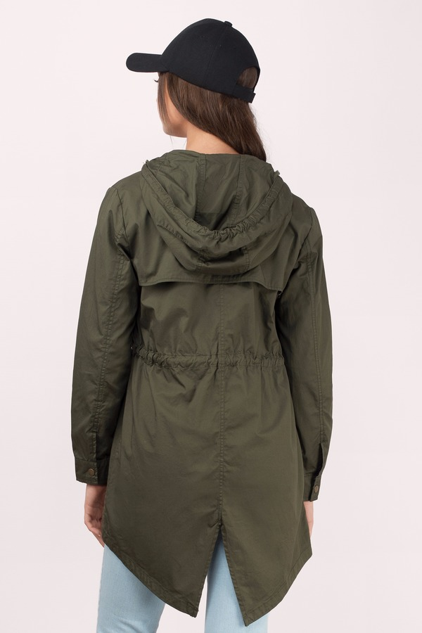 Olive Jacket - Green Jacket - Hooded Jacket - Long Tan Jacket ...
