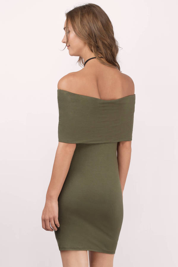 Olive Shift Dress - Green Dress - Strapless Dress - Olive Bodycon ...