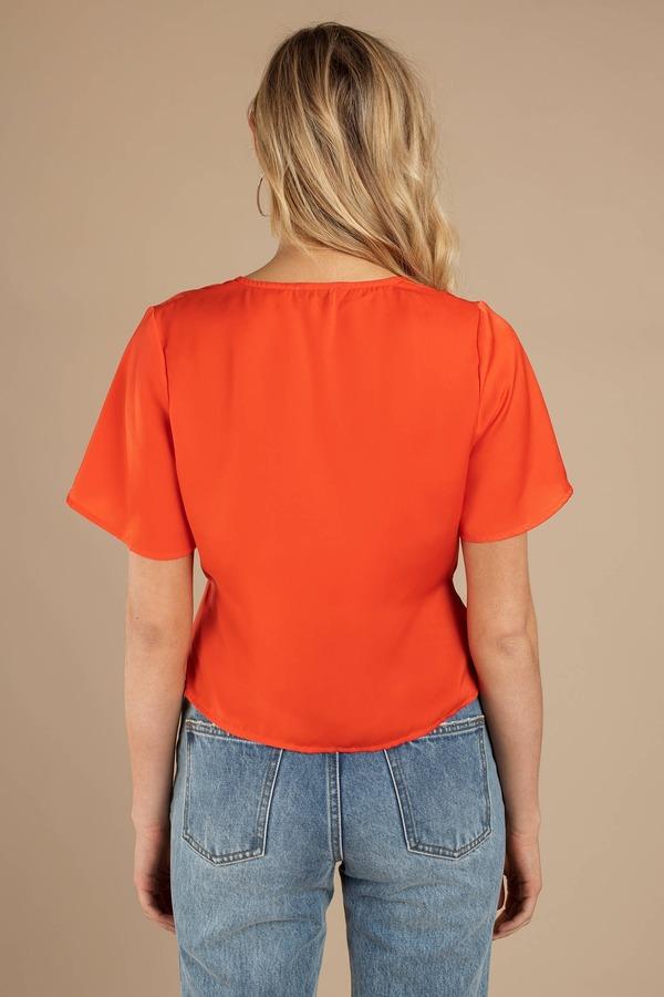 583e6fe4e58ba4 Orange Blouse - Front Tie Blouse - Orange Satin Flowy Blouse -  66 ...