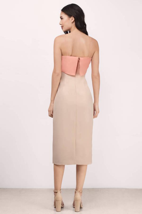 19169d544503 Sexy Peach Dress - Thin Strap Dress - Pretty Peach Dress - Midi ...