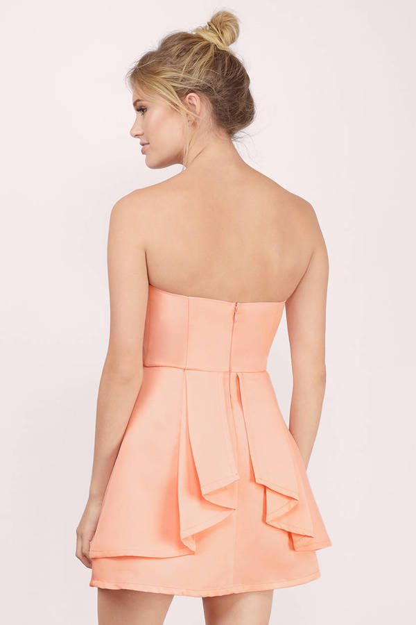 Cute Peach Skater Dress - Orange Dress - Tube Dress - $13.00