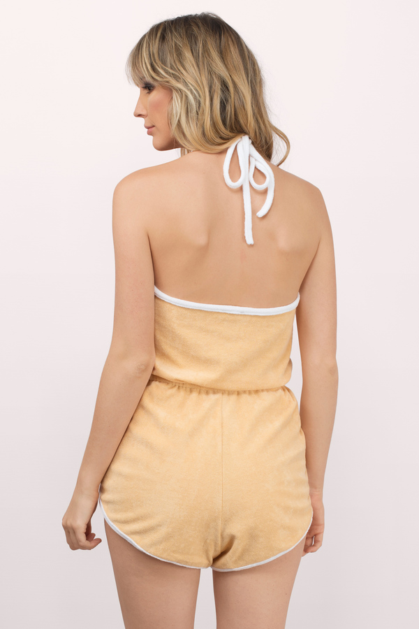 2655623104c Cute Peach Romper - Backless Romper - Orange Romper - Peach Romper ...