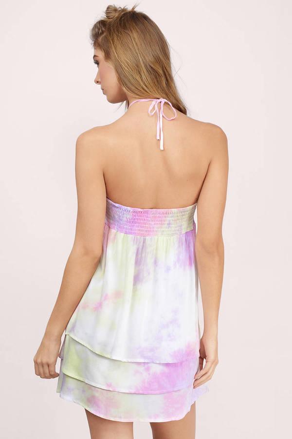 Boho Dress - Tie Dye Dress - Halter Trapeze Dress - Pink Day Dress ...
