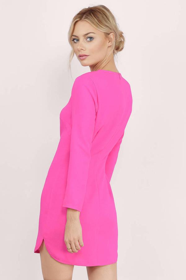 Pink Shift Dress - Pink Dress - 3/4 Sleeve Dress - $9.00
