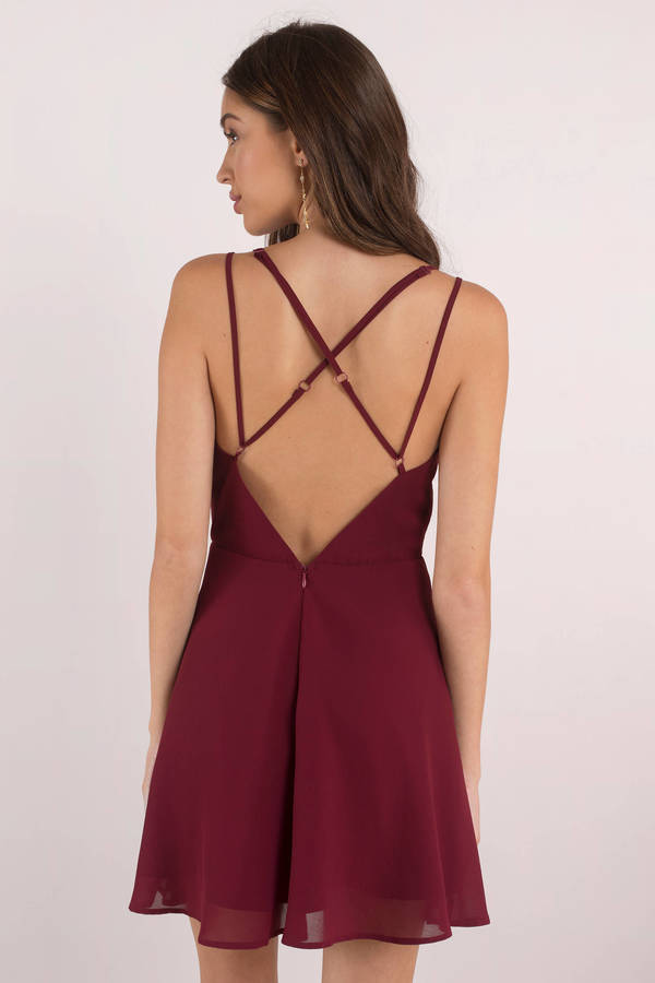 d87f852989a1 Plum Skater Dress - Strappy Back Dress - Plum Dress - Skater Dress ...