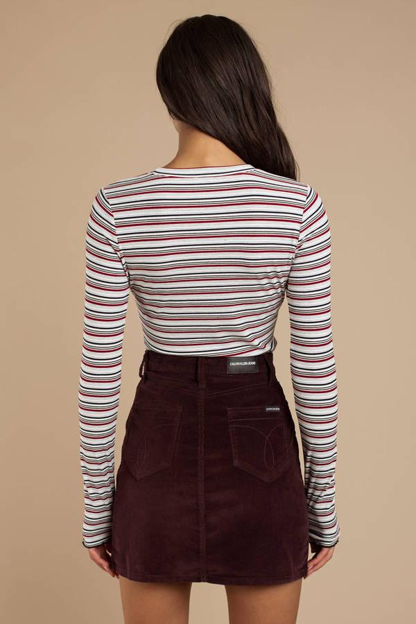 b010430a0ffa Burgundy Calvin Klein Skirt - Corduroy Mini Skirt - Burgundy Mini ...