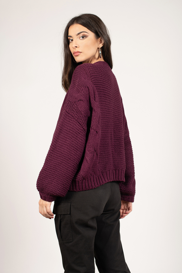 865cf7a47b Burgundy Sweater - Slouchy Sweater - Burgundy Cable Knit Sweater ...