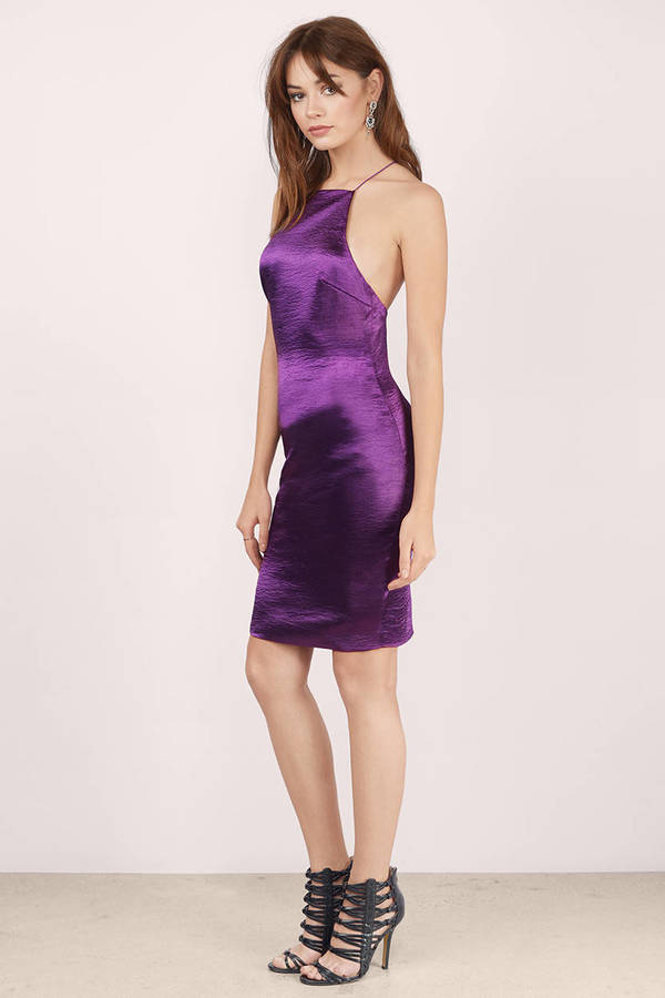 5b0a35f560 Plum Dress - Satin Dress - Metallic Plum Dress - Bodycon Dress -  11 ...
