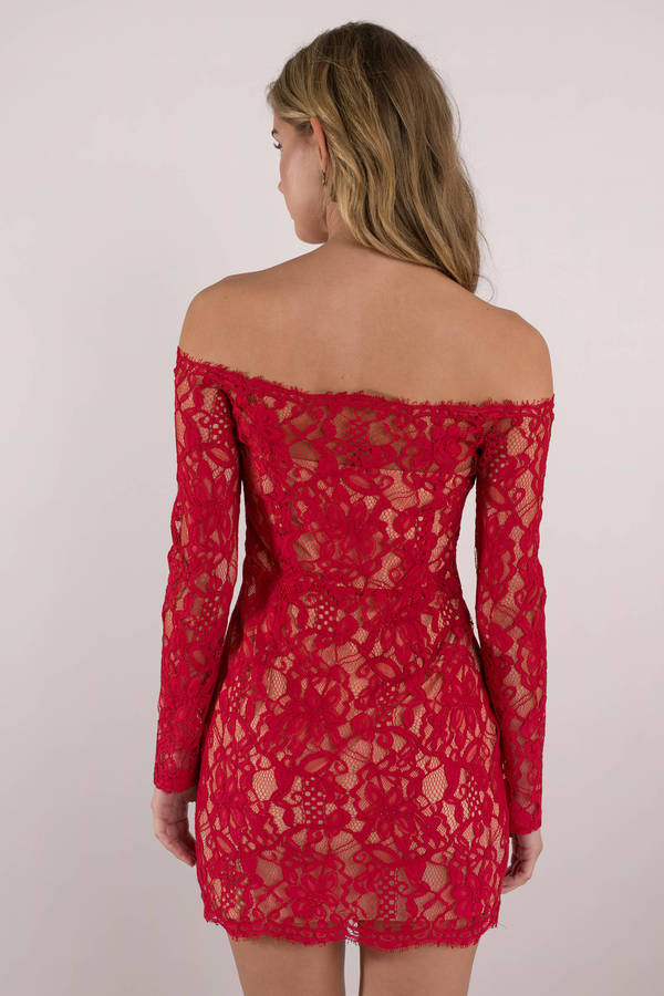 d9dfc559c30 Sexy Red Bodycon Dress - Banquet Dress - Red Off Shoulder Dress ...
